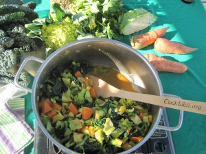 Celery Root Stir Steam PAN at Farmer's Market Table